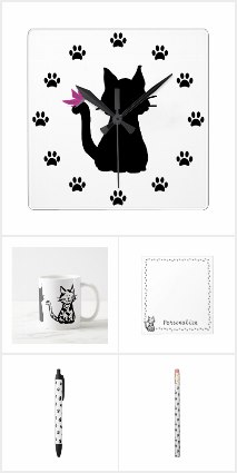Black and White Cat Designs by Purple Cat Arts