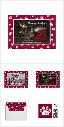 Cute Pet Photo Christmas Greeting Cards Designed by Purple Cat Arts